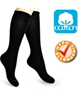 Cotton Compression Socks for Women. Graduated Stockings for Nurses, Maternity, Travel, Flight, Pregnancy, Varicose Veins, Calf Support. 15-20 mmHg Medical Circulation Hose. Knee High 1 Pair