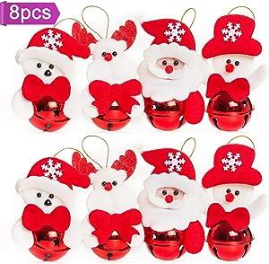 U_star 8Pcs Christmas Bells Ornaments Christmas Bells Decorations for Christmas Tree, Snowman, Old Man, Polar Bear& Deer