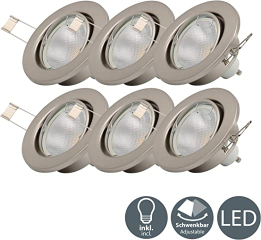 6 X 5w Led Focos Empotrables Giratorio Gu10 I Downlight I O86mm I 230v I Ip23 I Luz Blanco Calido 3000k I Profundidad 70mm Amazon Es Iluminacion