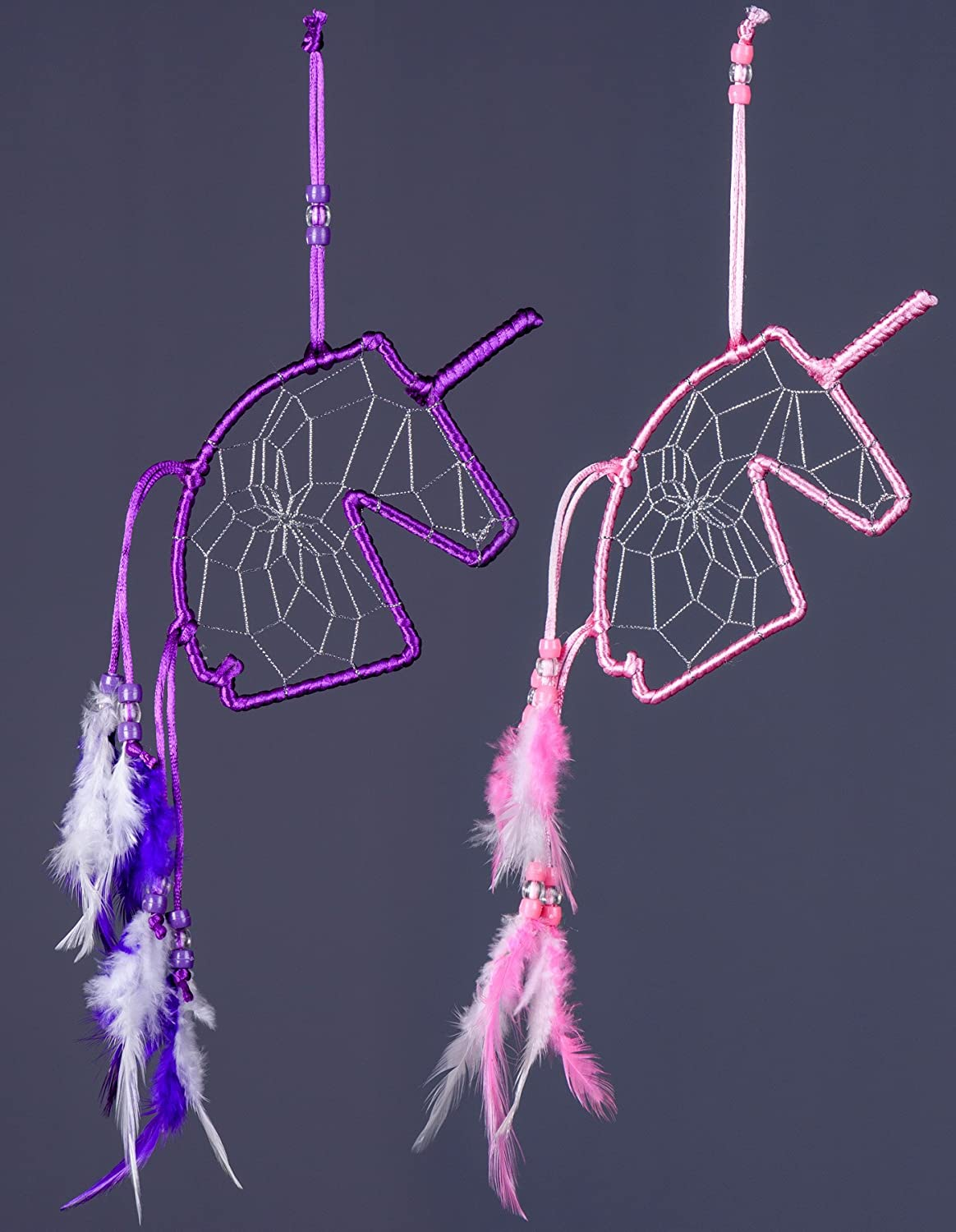 Dreams And Whispers Unicorn Profile Dream Catcher-Pink and Purple