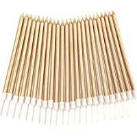 24 Count Birthday Party Long Thin Cake Candles Metallic In Holders For Cakes