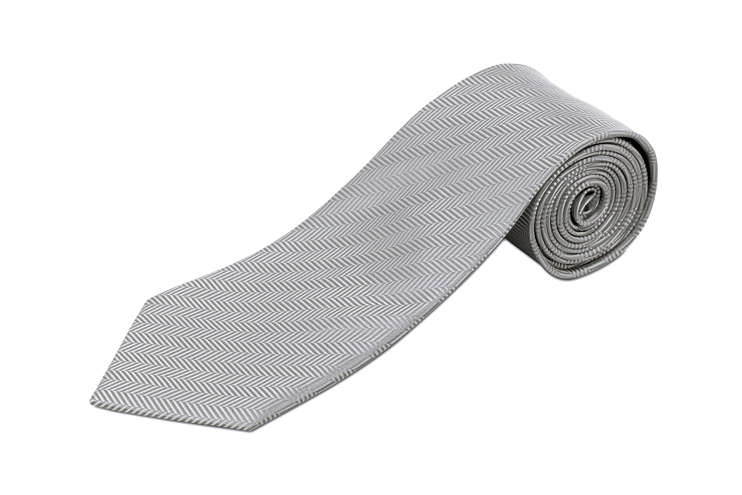 Extra Long Tie - Silver Herringbone Silk, 63 Inches Long