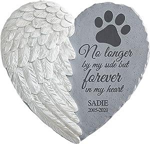 Let's Make Memories Personalized Memorial Garden Stone - Pet Memorial - Sympathy Stepping Stone - Pet Memorial - Dog Memorial - Cat Memorial - Engraved with Pet's Name - Durable, Cast Resin - 12