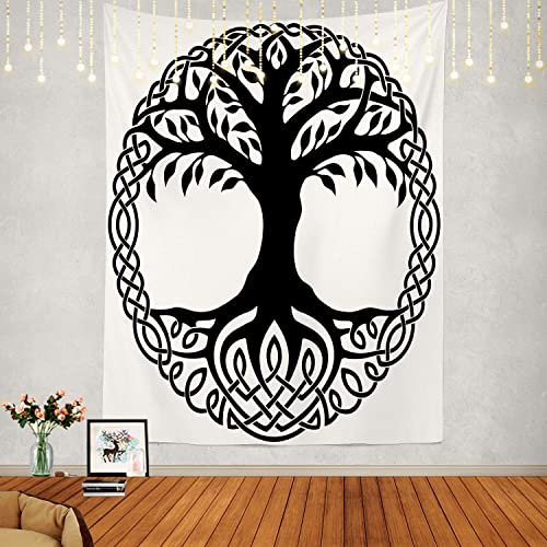 Shrahala Tree of Life Tapestry, Black Celtic Tree of Life White Branches Floral Wall Hanging Large Tapestry Psychedelic Tapestry Decorations Bedroom Living Room Dorm 82.7 x 59.1 Inches, Black 2