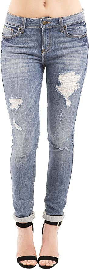 Amazon.com: Eunina Womens Distressed Stretch Skinny Jeans ...