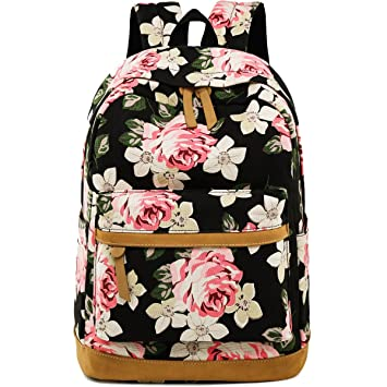 9d377a7cd405 Backpack for Girls Canvas School Rucksack Floral 15 inches Laptop bookbag  for Women College Bookbags Travel Daypack (Black - Floral)