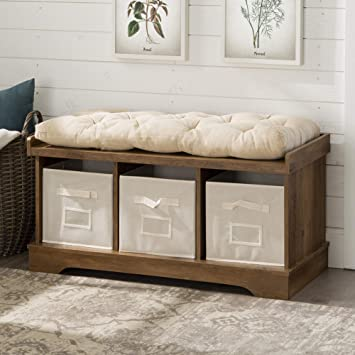 WE Furniture AZ42STCRO Storage Bench, Rustic Oak