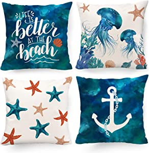 Hexagram Beach Themed Decorative Pillow Covers 18 x 18, Summer Coastal Ocean Starfish Anchor Pattern Throw Pillow Covers Set of 4 for Living Room Sofa Couch Patio Turquoise Outdoor Beach Home Decor
