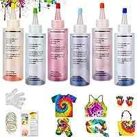 WELLXUNK® Tie Dye Kit, Tinte de Tela Permanente 6 Colores Juego no Tóxico de Tinte de Ropa, Tintes Textiles Tie Dye…
