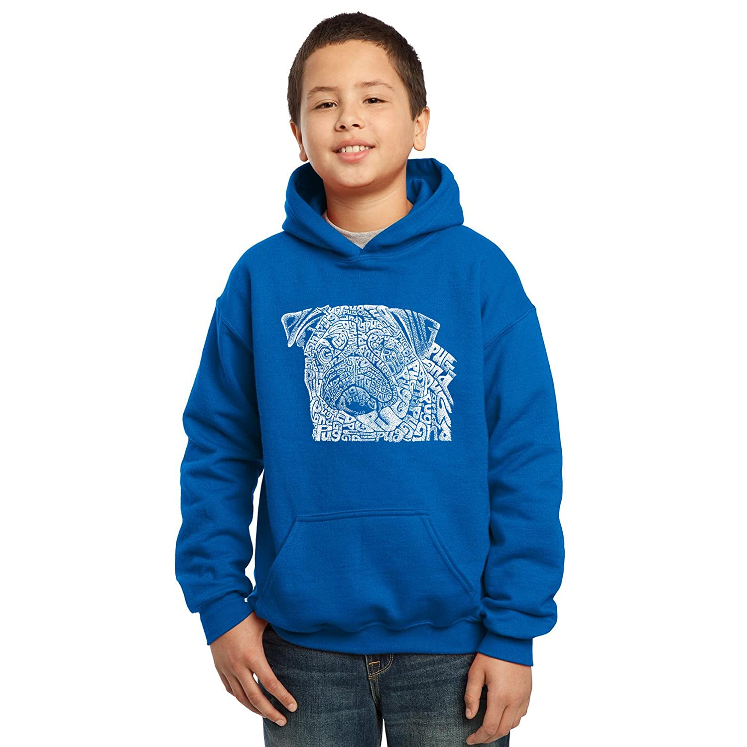 Los Angeles Pop Art Boys Hooded Sweatshirt Pug Face