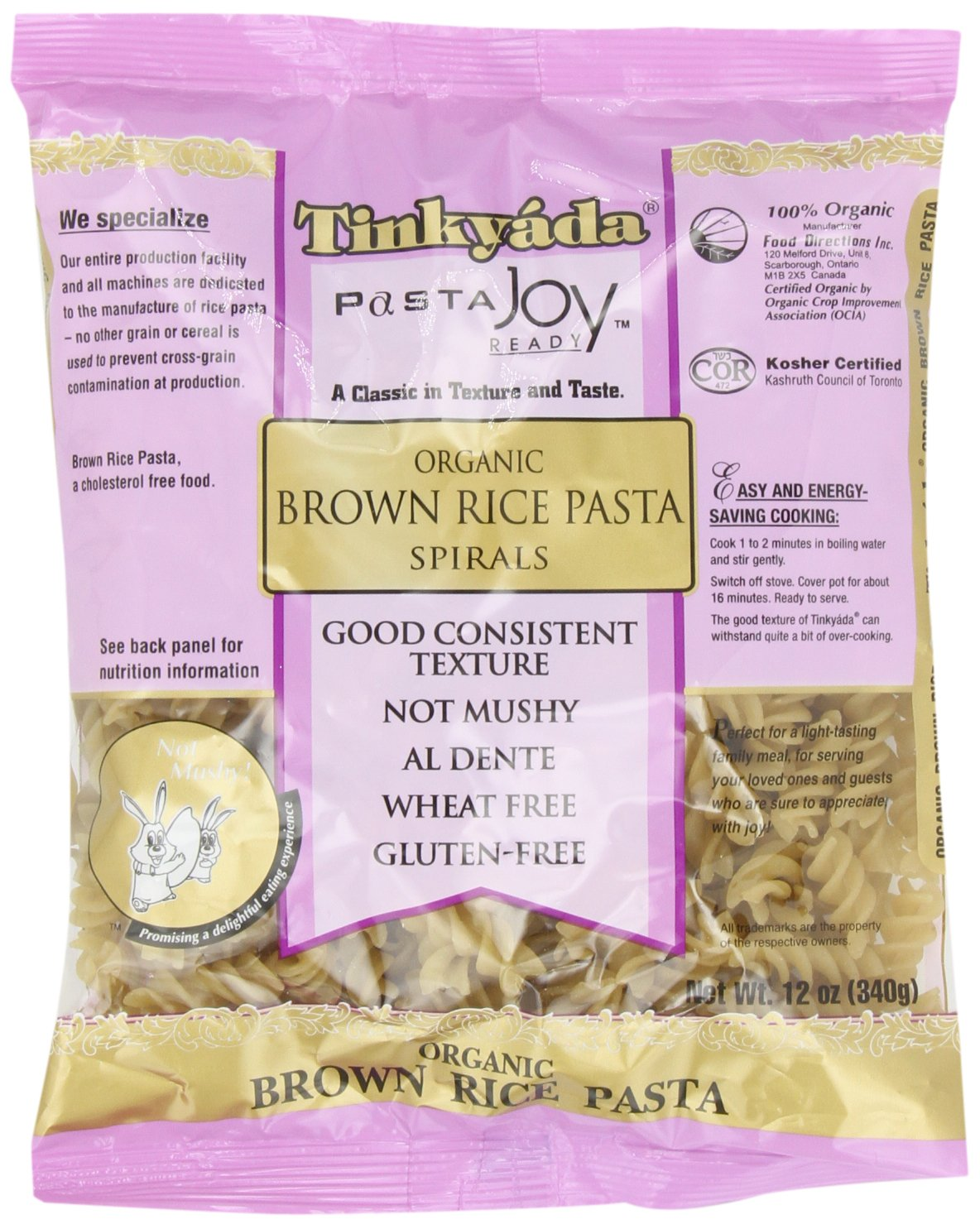 Amazon : Tinkyada Gluten Freeanic Brown Rice Pasta Spirals,  12ounce (pack Of 6) : Rotini Pasta : Grocery & Gourmet Food