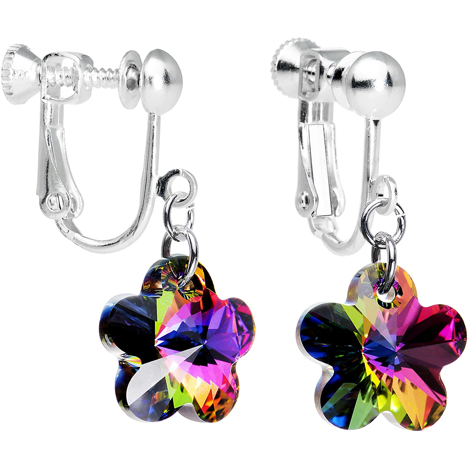 Body Candy Handcrafted Flower Clip Earrings Created with Swarovski Crystals HC-2827-B