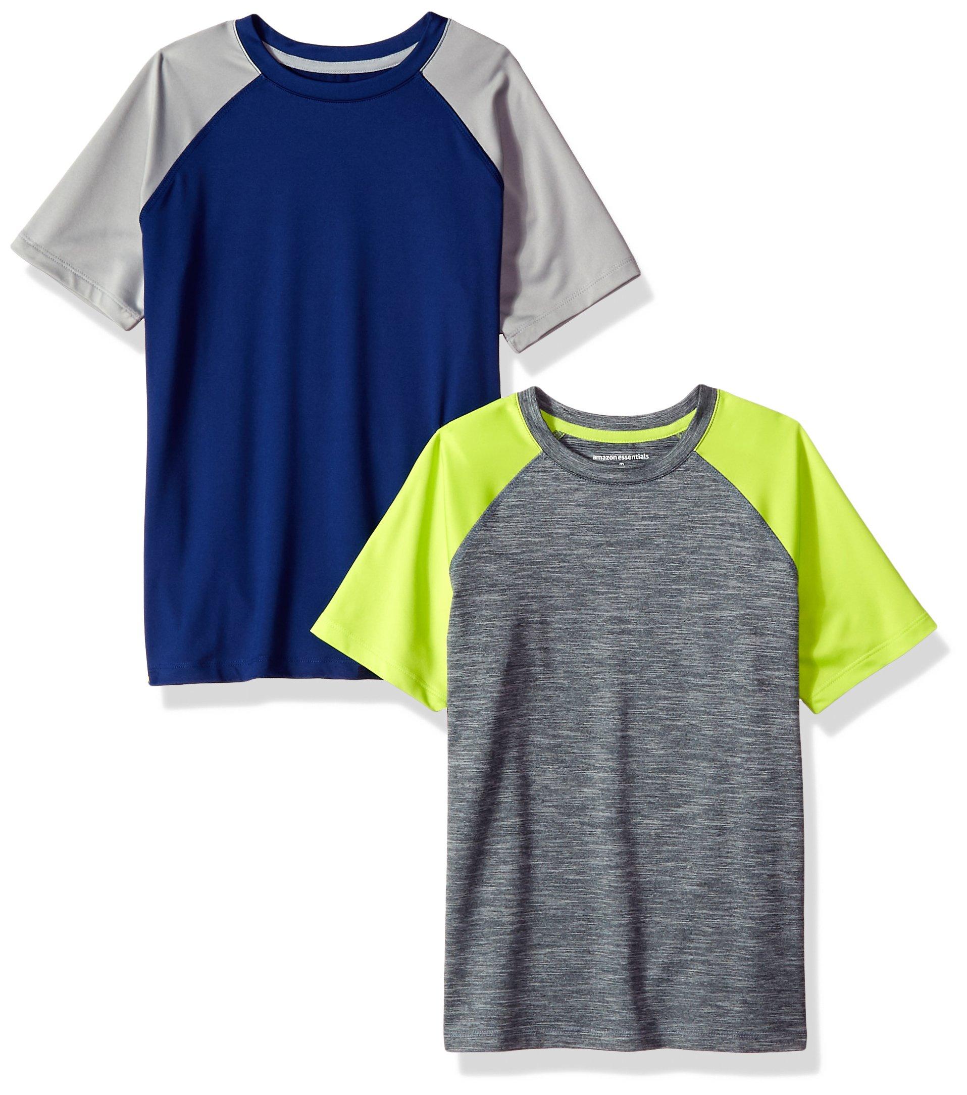 Amazon Essentials Boys' 2-Pack Short-Sleeve Raglan Active Tee, Navy/Grey/Grey/Lime, Large