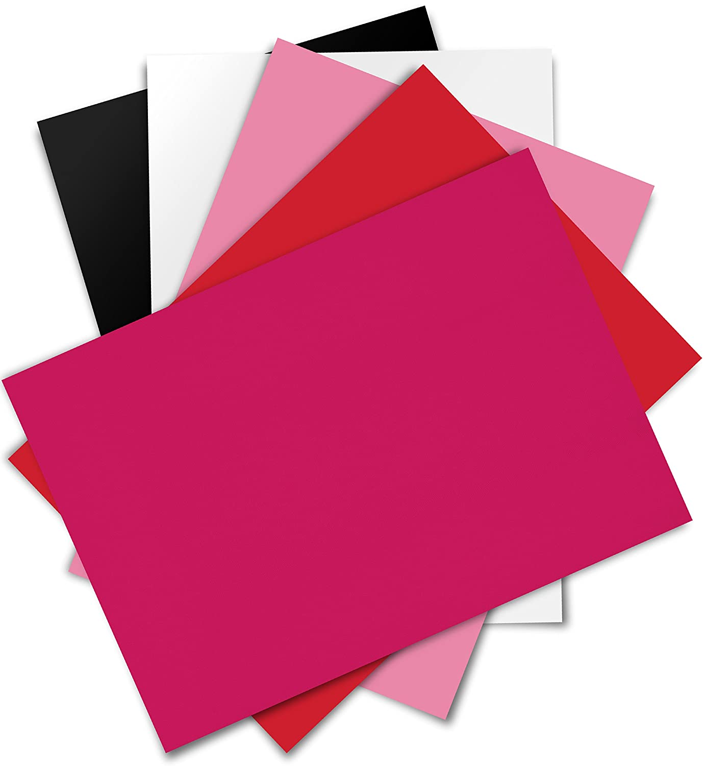 Firefly Craft 熱転写ビニール シルエットとクリカットに対応 12インチ × 20インチ 5 sheets B01M7NO9IT 5 sheets|White, Black, Pink, Deep Pink, Red White, Black, Pink, Deep Pink, Red 5 sheets