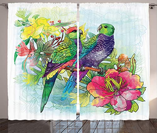 Ambesonne Parrot Curtains