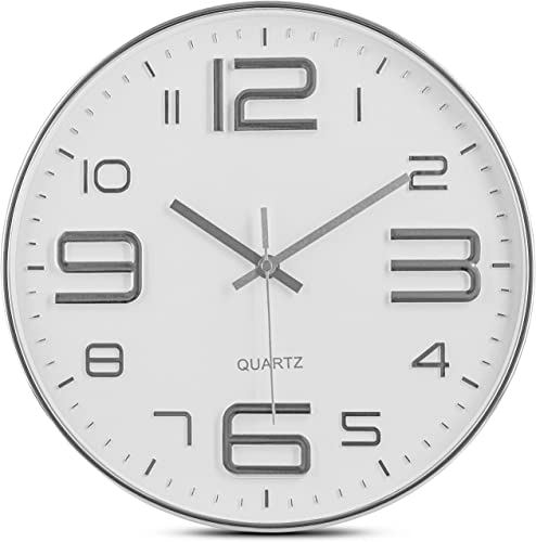 Bernhard Products Silver Wall Clock 12 Inch Silent Non-Ticking Quality Quartz Battery Operated Round White Decorative Modern Design