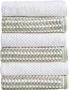 6-Piece Hand Towel Set. 100% Cotton Multi-Striped Bathroom Towels. Quick Dry and Absorbent Towels. Set Includes 6 Hand Towels. Milos Collection (6 Pack, Eucalyptus / Beige)