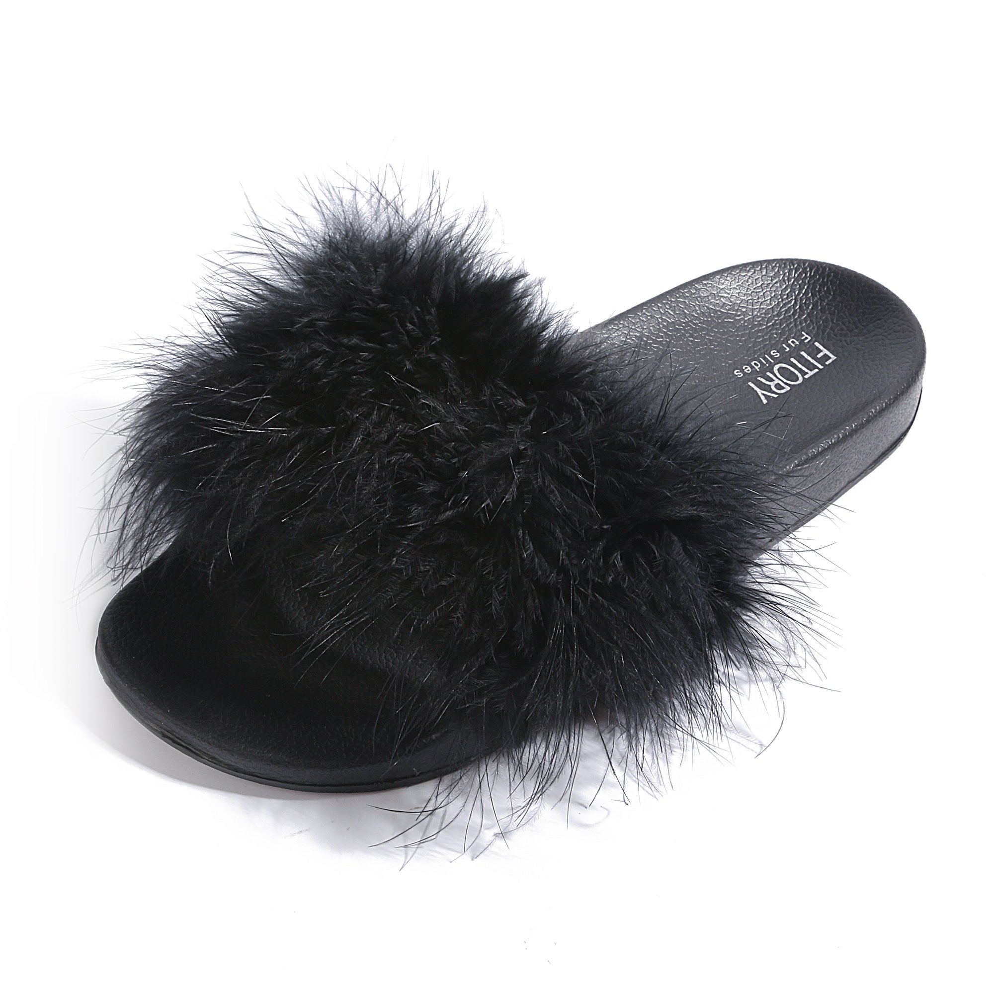 Slides for Womens Faux Fur Fuzzy Slippers with Arch Support in Flat Sandals Girls Outdoor Indoor Shoe, Black ,9-10 B(M) US