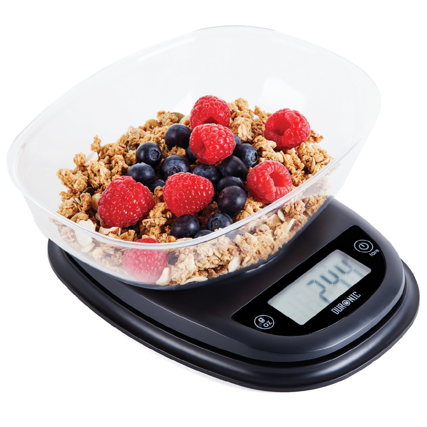 Duronic Kitchen Scale KS2000 5KG Oval Digital Display Kitchen Scales with Clear Mixing Bowl | Postal Scale Capacity: 5kg / 11lb