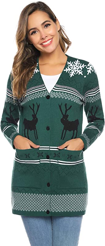 Womens Santa Snowman Cat Cardigan Xmas Christmas Long Sleeve Open Front Tunic Sweatshirt Coats Plus Size.S-5XL