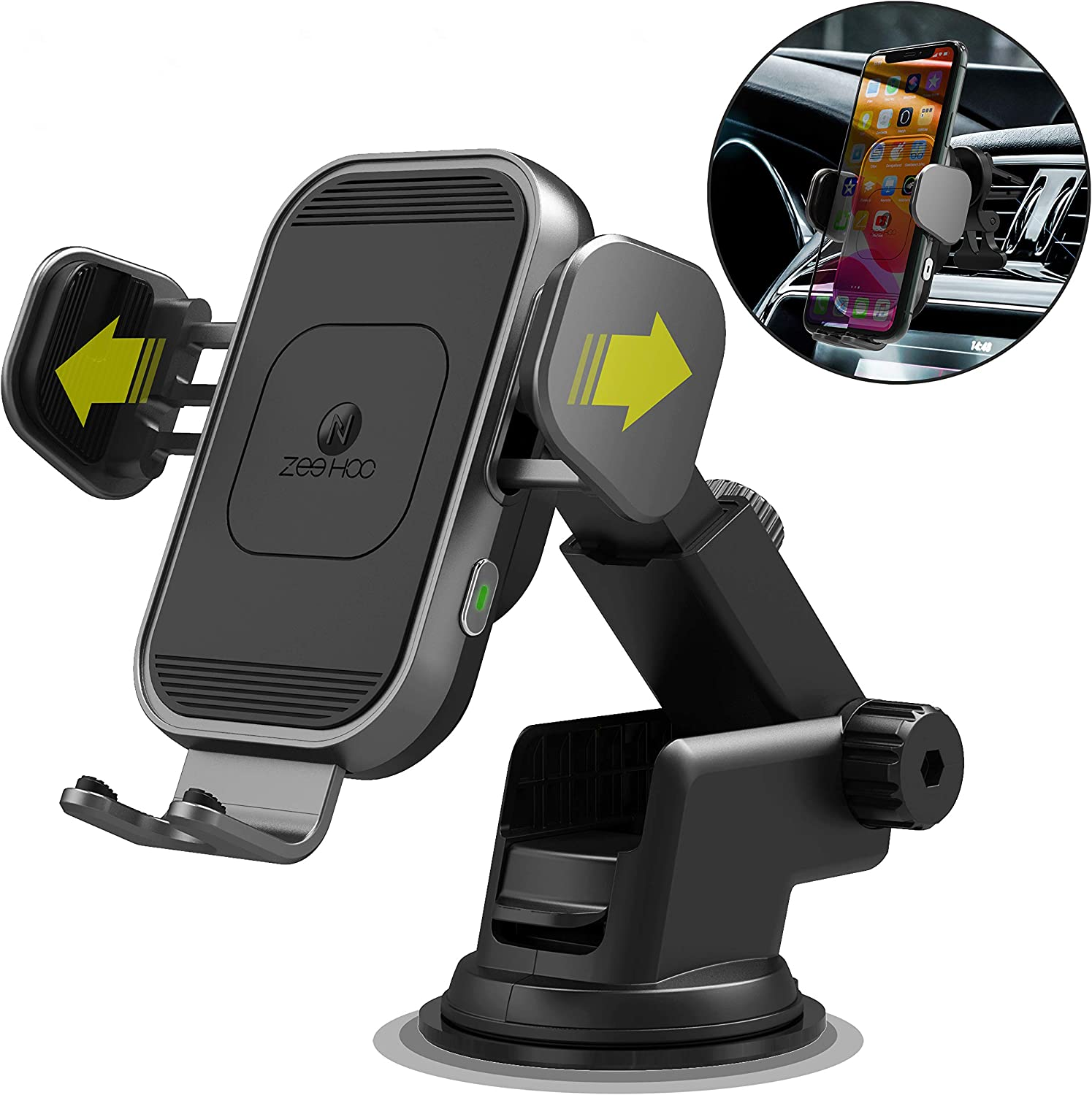 [2020 Upgraded Version] ZeeHoo Wireless Car Charger,15W Qi Fast Charging Auto-Clamping Car Mount,Windshield Dash Air Vent Phone Holder Compatible iPhone 11/11 Pro/Pro Max,Samsung Note10/S10/S9 & More
