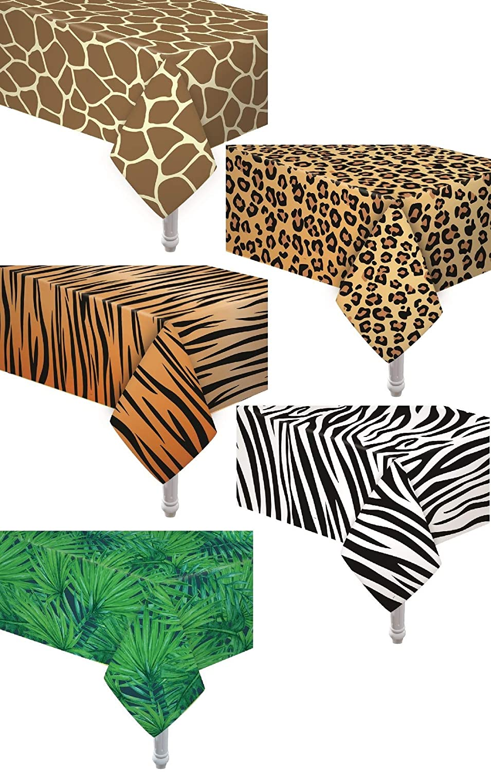 5 Pack Animal Safari Theme Zoo Print Table Cover / Animal Theme Tablecloth Party Supplies/ Ideal for Birthday Parties, Animal Theme Party, Baby Showers, Zoo Jungle Safari Themed Party