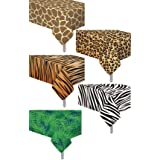 5 Pack Animal Safari Theme Zoo Print Table Cover / Animal Theme Tablecloth Party Supplies/ Ideal for Birthday Parties, Animal