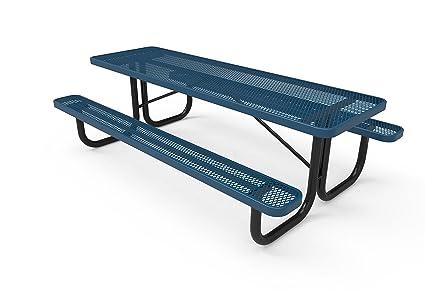 Swell Coated Outdoor Furniture T8 Lbl Rectangular Portable Picnic Table 8 Feet Light Blue Customarchery Wood Chair Design Ideas Customarcherynet