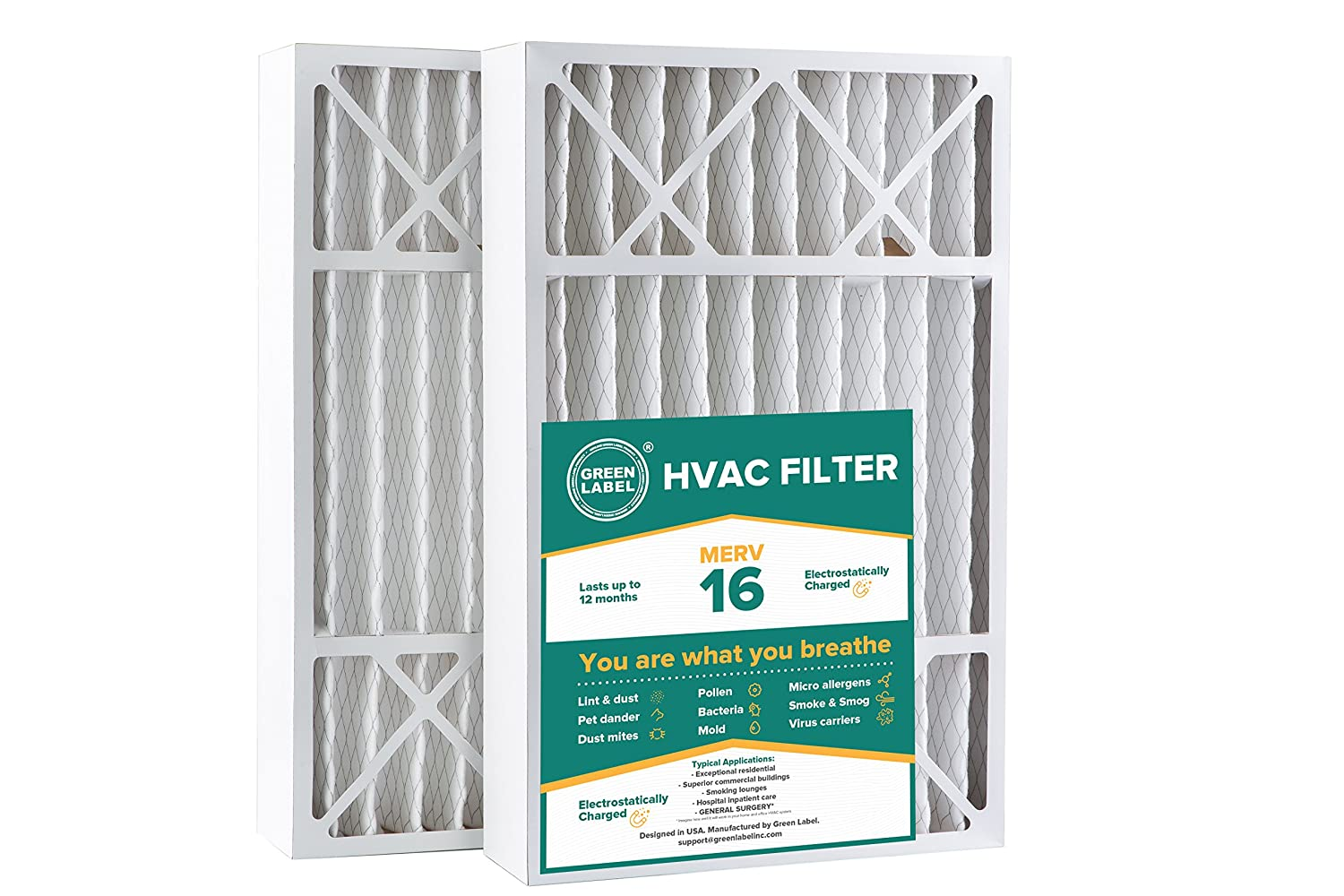 Green Label HVAC Air Filter 16x25x5, AC Furnace Air Ultra Cleaning Filter MERV 16 - Pack of 2