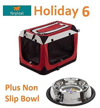 Roaduserdirect Pet Care FERPLAST - Caseta portátil para 6 perros, 70 x 52 x 22 cm, cuenco antideslizante: Amazon.es: Productos para mascotas