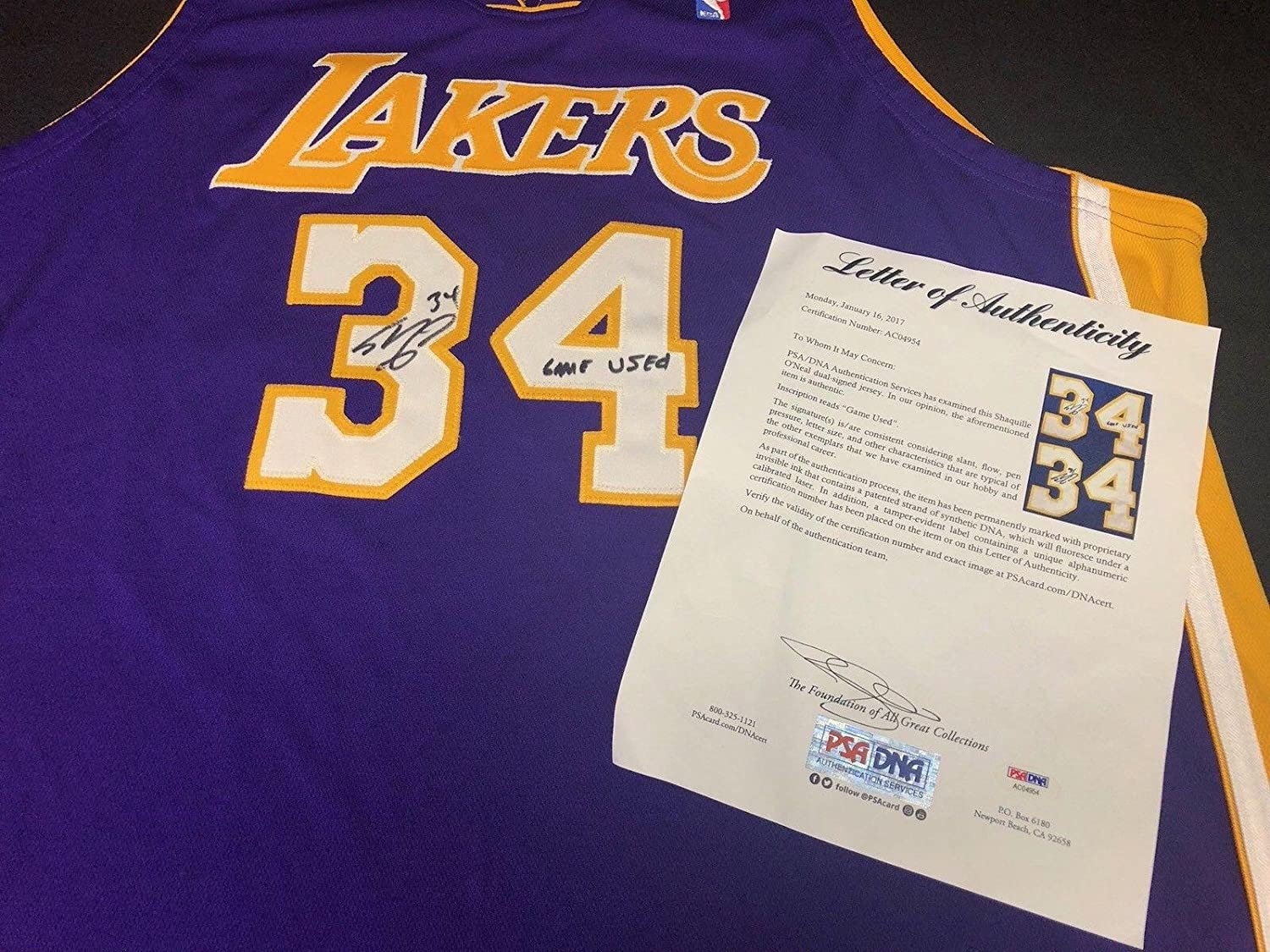 separation shoes fb9bd 0f9aa Shaq Shaquille O'Neal Signed Game Used Los Angeles Lakers ...