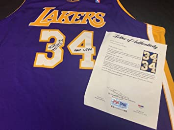 890831956 Shaq Shaquille O Neal Signed Game Used Los Angeles Lakers Basketball Jersey  - PSA