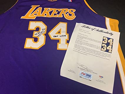 separation shoes 964fc 7f30d Shaq Shaquille O'Neal Signed Game Used Los Angeles Lakers ...