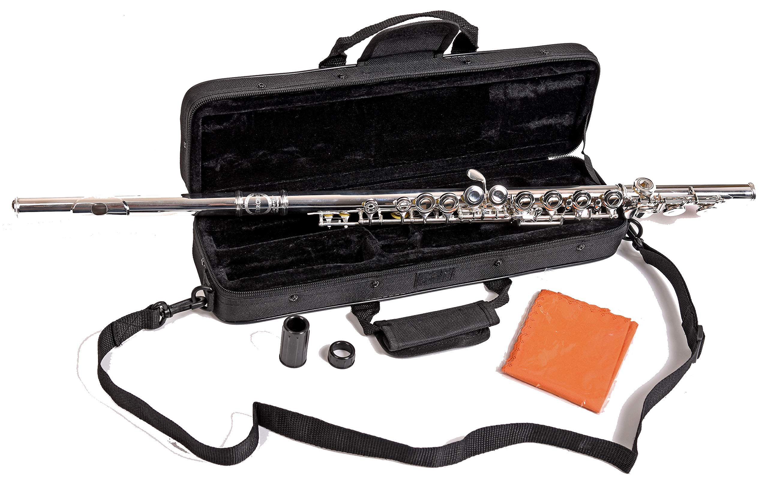 Herche Superior Flute FL-297 - Best for Students - Silver Plated Body with Durable Silver Plated Keys - Split E Mechanism, Plush Lined Flute Case with Shoulder Strap, Treated Pads and Cleaning Rod All by Herche