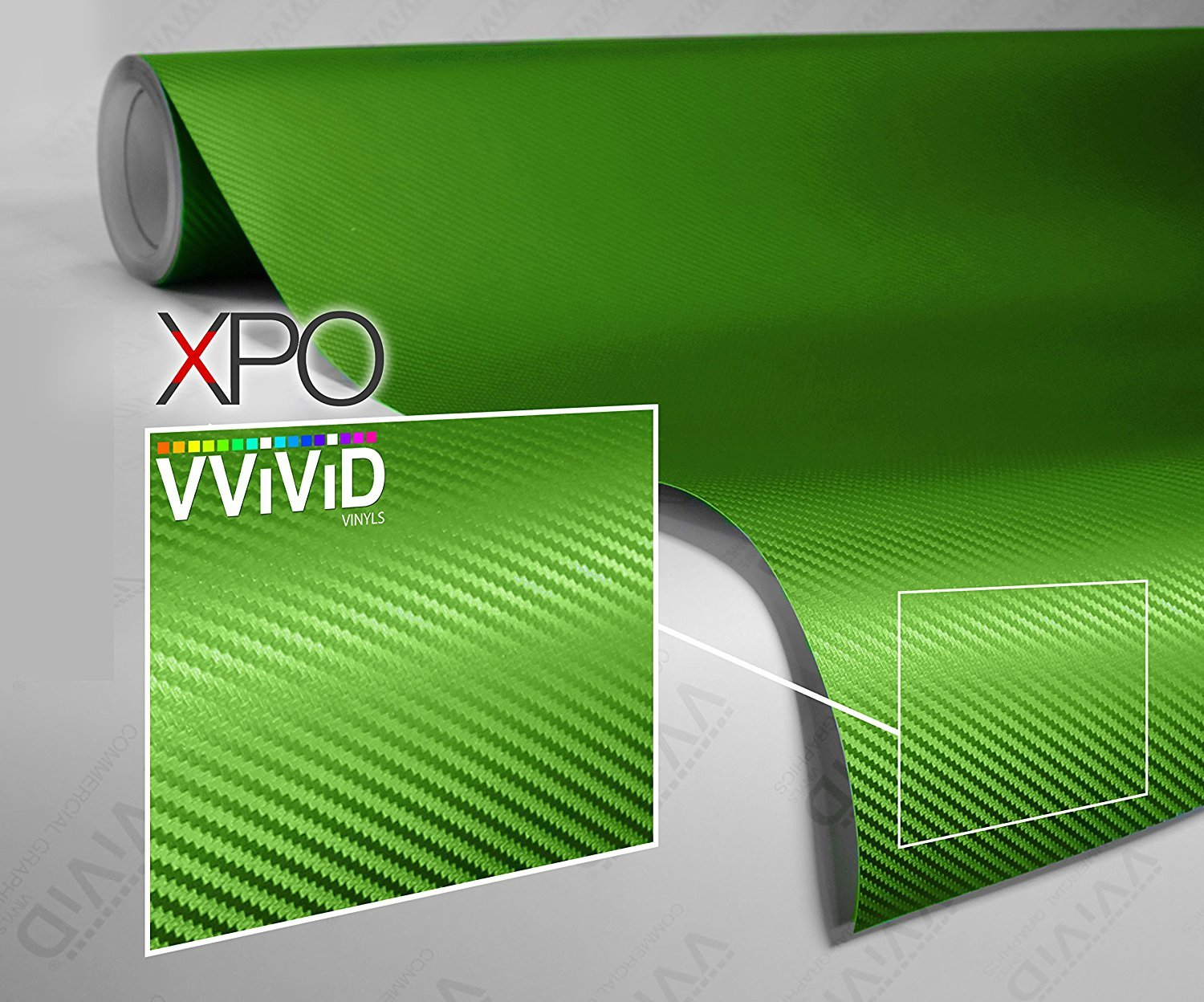 3ft x 5ft VViViD XPO Lime Green Dry Carbon Fiber Vinyl Wrap Roll with Air Release Technology