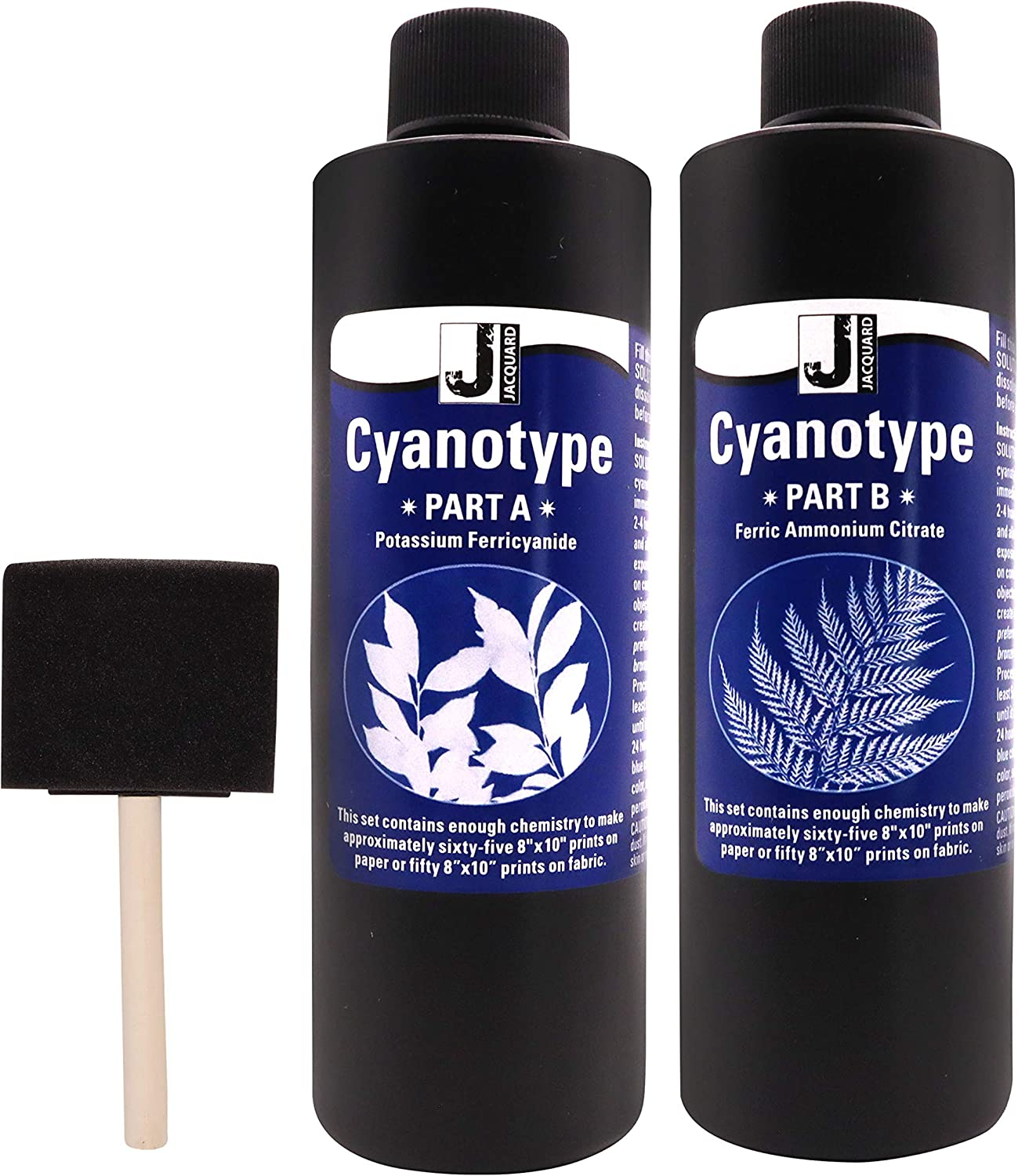 Jacquard Cyanotype - for Photographic Blueprints on Paper and Fabric - 2 Component Sensitizer Set - Bundled with Moshify Sponge Brush for Application