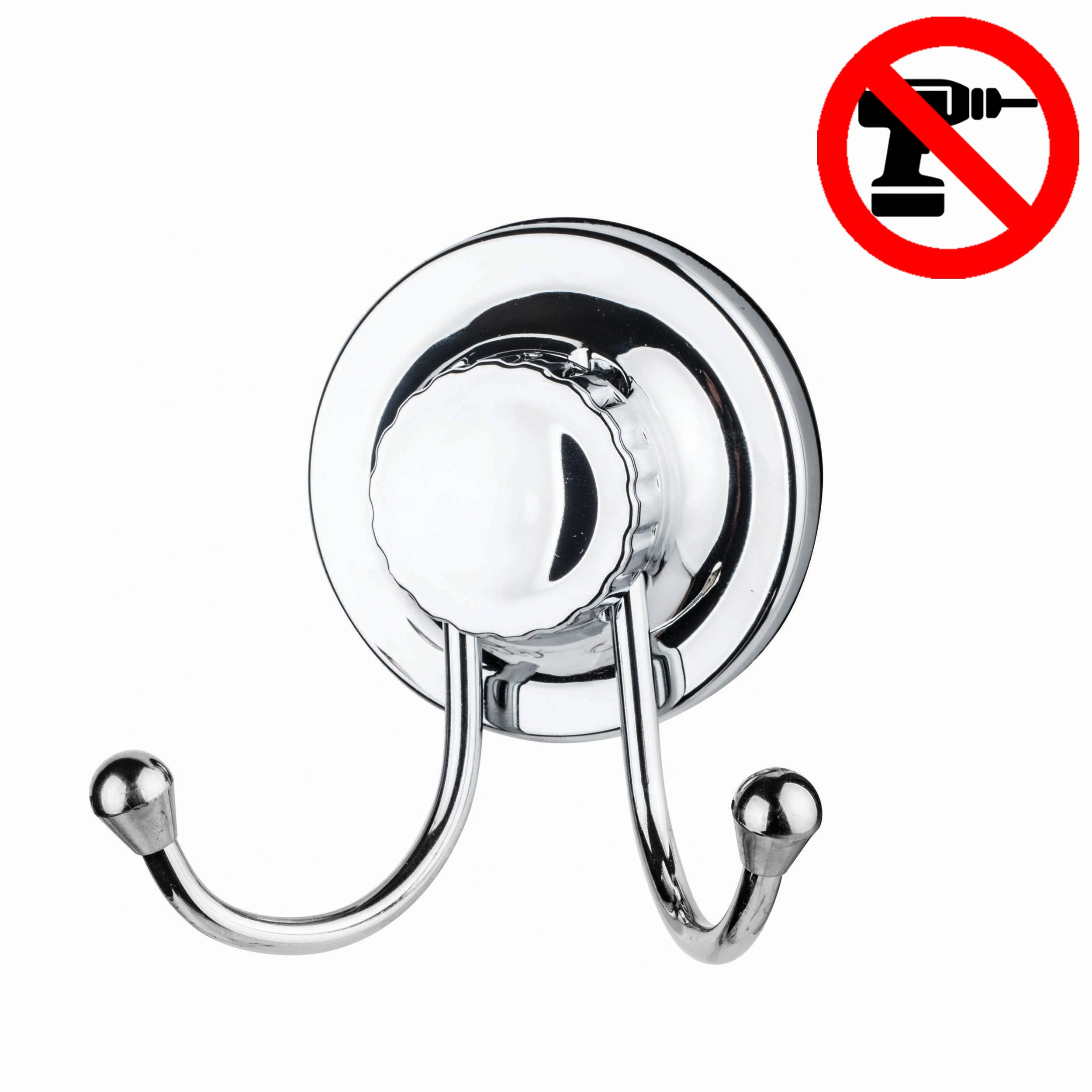 Lucena Suction Cups With Hooks Powerful Rubber Very Strong Heavy Duty For Towel Bathroom Kitchen Hanger - Double Hanger