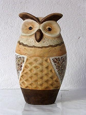 Dekofiguren Keramikfiguren Tiere Naturtöne Eule Groß Hb