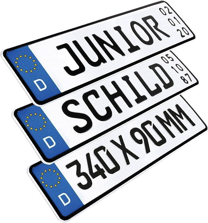 L P Car Design 1 Stück Kennzeichen Junior Schild 34cm X 9cm Geburtstags Schild Datum Wunschtext Wunschkennzeichen Wunschprägung Namenskennzeichen Namensschild Bobbycar Kettcar Fun Schild Auto