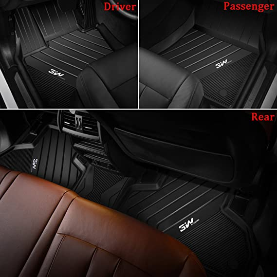 2019 2020 2021 3pcs All Weather Anti-Slip Black Rubber Accessories Floor Mat for BMW X5 SUV Made in USA YelloPro Custom fit Heavy Duty Front /& 2nd Row