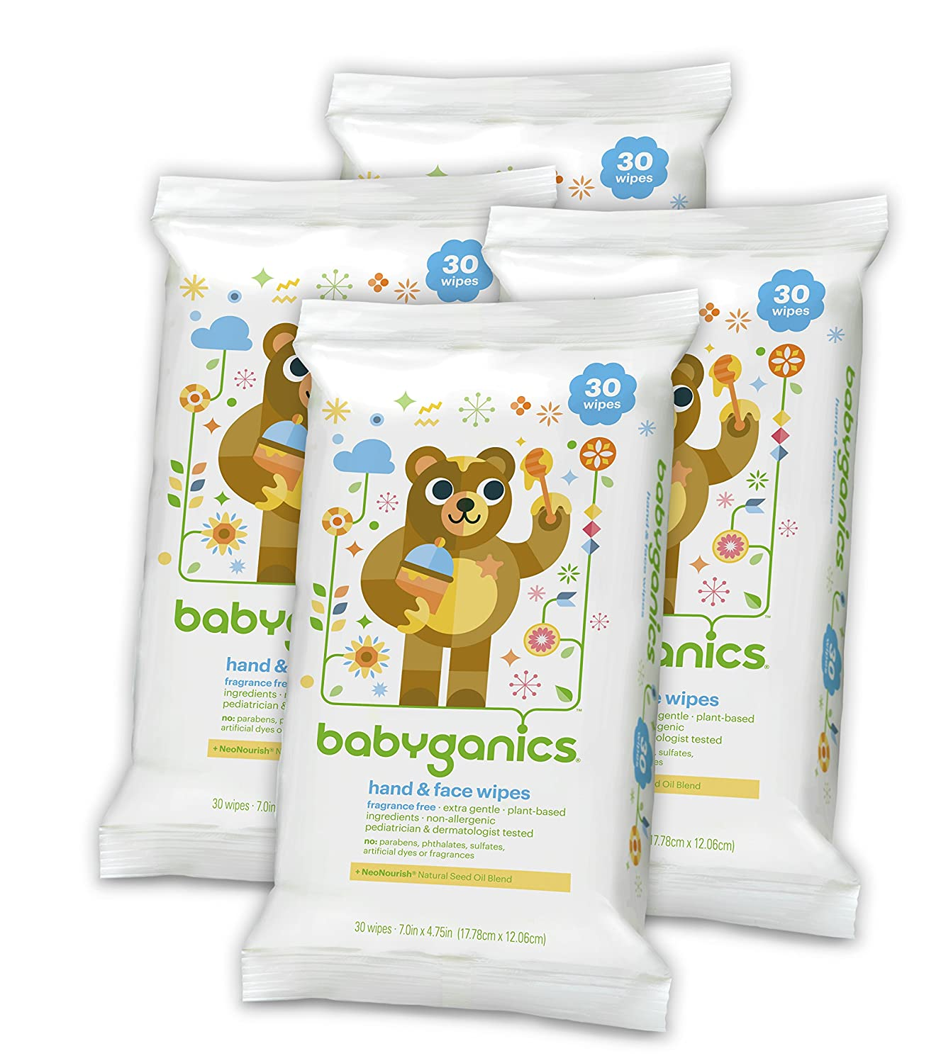 Babyganics Hand & Face Wipes, Fragrance Free, 30 Count (Pack of 4, 120 Total Wipes)