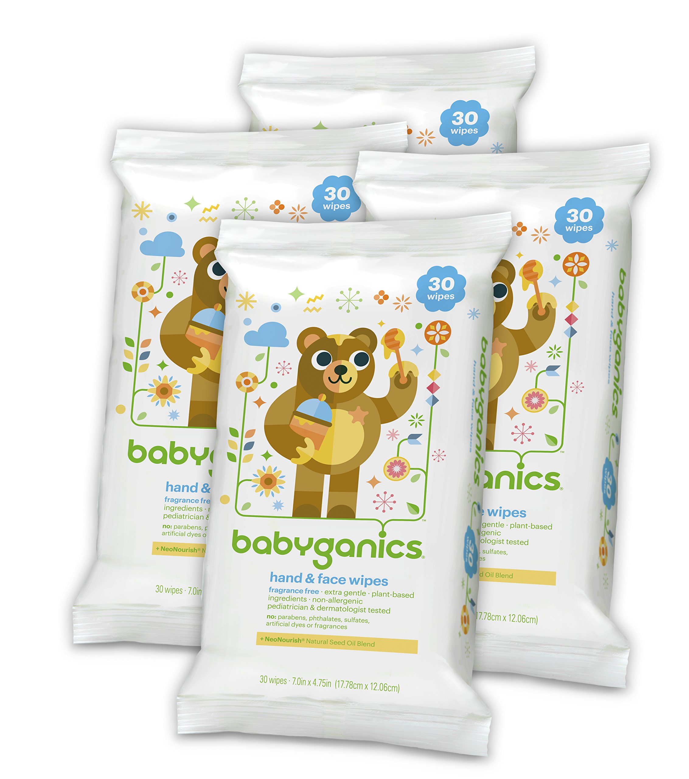 Babyganics Hand & Face Wipes, Fragrance Free, 30 Count (Pack of 4, 120 Total Wipes) by Babyganics