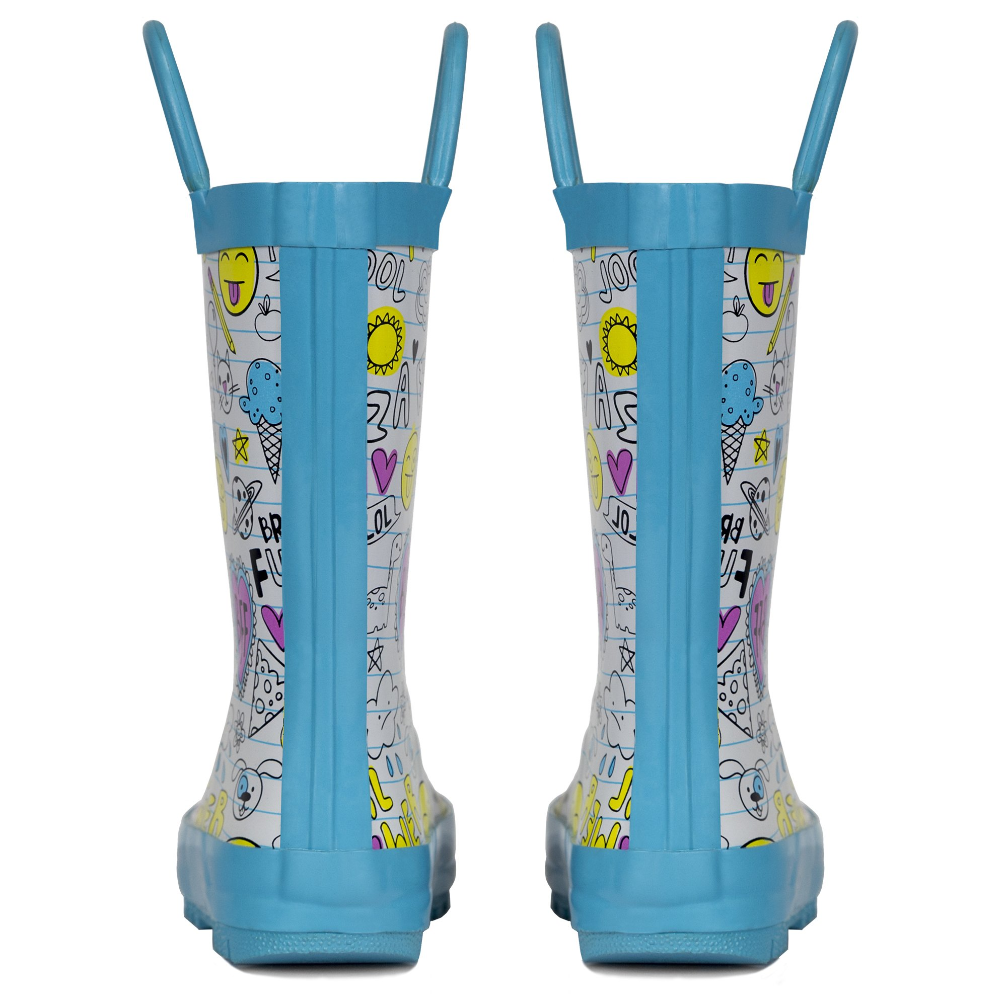 LONECONE Children's Waterproof Rubber Rain Boots in Fun Patterns with Easy-On Handles Simple for Kids, Oodles of Doodles, Toddler 8 by LONECONE (Image #5)