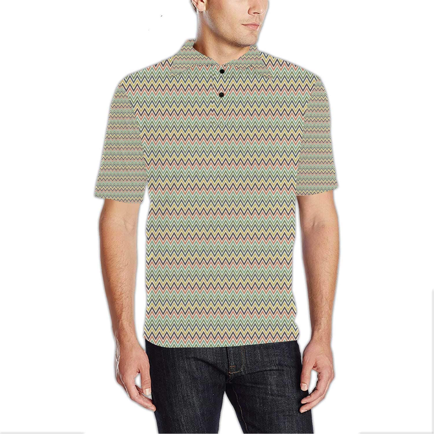 Muted Colors,Modern Men Sports Polo Shirt for Golfing Flower Like Flourishing Spring Elements S
