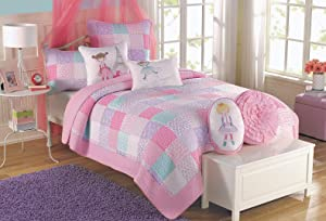 Cozy Line Home Fashions Angelina Floral Flower Dot Pink Light Purple Blue Printed Patchwork 100% Cotton Reversible Quilt, Bedspread, Coverlet Bedding Set (Pink/Blue, Twin - 2 Piece)