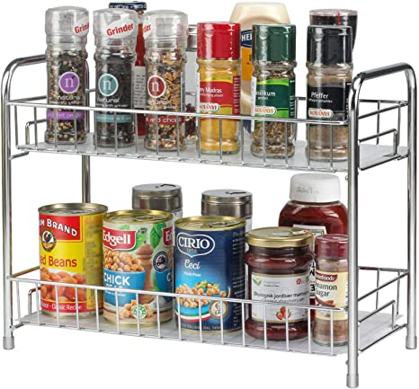 Spice Rack Organizer for Countertop Metal Wire 2 Tier Spice Organizer Storage Holder with Shelf Liner Freestanding for Kitchen Bathroom Cabinet Pantry Office-Bronze-2 Packs