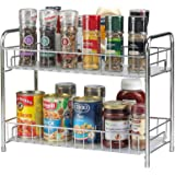 Spice Rack Organizer for Countertop 2 Tier Counter Shelf Standing Holder Storage for Kitchen Cabinet-Chrome
