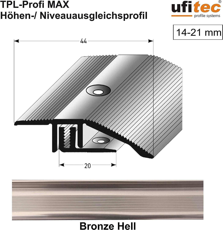 ALU eloxiert H/öhenausgleichsprofil   L/änge: 270 cm, Gold Hell ufitec/® TPL Profi MAX Profilsystem f/ür Parkettb/öden geeignet f/ür Belagsh/öhen von 14-21 mm