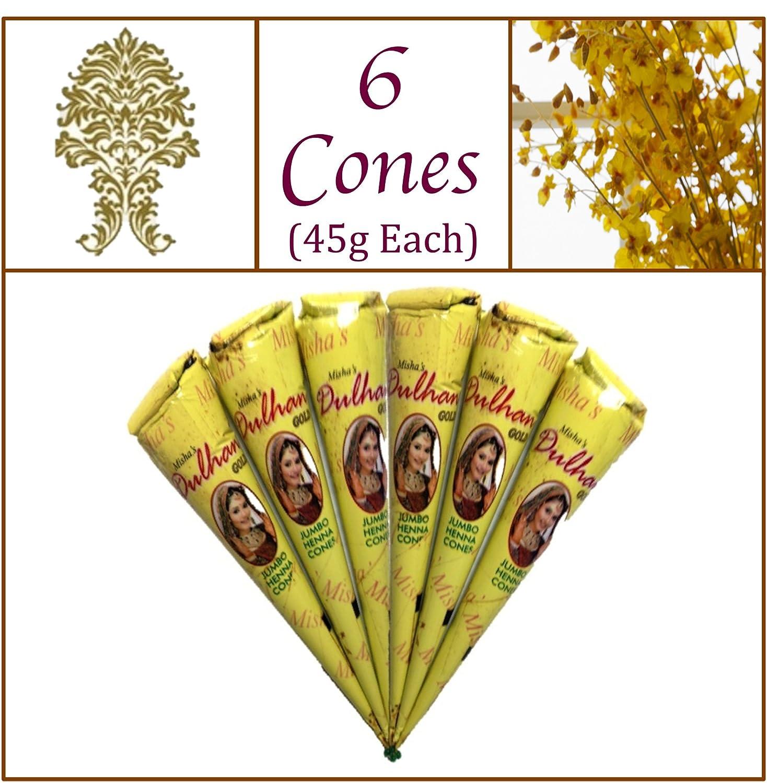 6 Jumbo Cones. Dulhan Gold Henna Paste. No Chemicals No PPD. 45g Ea. Misha