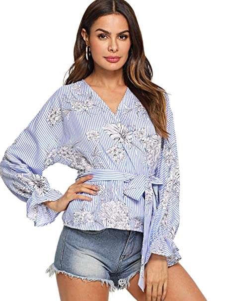 8112a8f56a9af4 MAKEMECHIC Women's V Neck Wrap Blouse Tie Knot Front Striped Tops Blue XS  at Amazon Women's Clothing store: